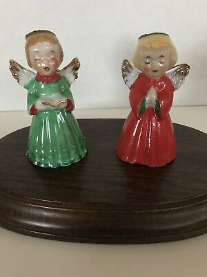 Vintage Christmas Angels Ornament Bells Lot Of 2 Ceramic Japan