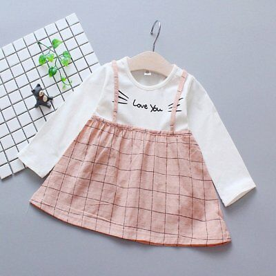 Spring Autumn Baby Girls Round Collar Long Sleeve Princess Dress Clothes PW