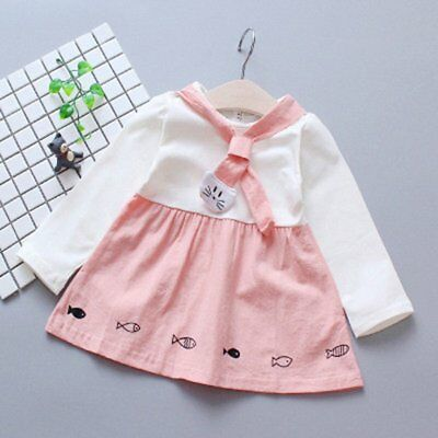 Spring Autumn Baby Girls Round Collar Long Sleeve Princess Dress Clothes OW