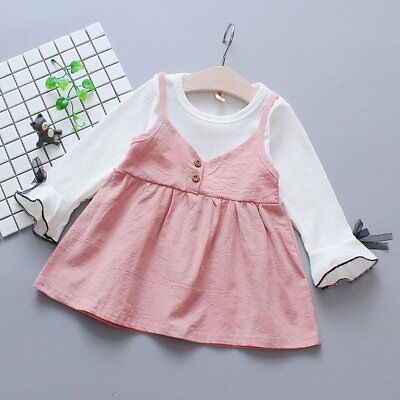 Spring Autumn Baby Girls Round Collar Long Sleeve Princess Dress Clothes NW