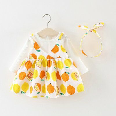 Spring Autumn Baby Girls Round Collar Long Sleeve Princess Dress Clothes LW