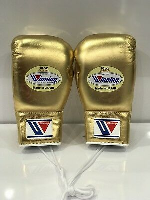 WINNING BOXING GLOVES MS-300 10oz Lace-up Custom Foil Gold