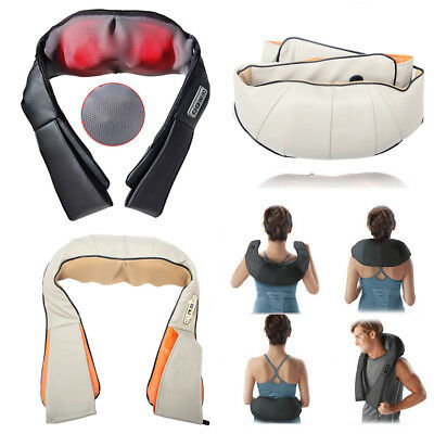 Electric Shiatsu Back and Neck Kneading Shoulder Massager Heat Straps Healthy US