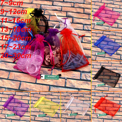 100Pcs Large Organza Gift Bags Wedding Party Favour Xmas Jewellery Candy Pouches