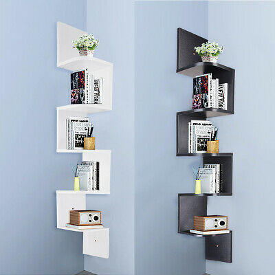 3/5 Tiers Wood Wall Mount Shelves Corner Shelf Floating Storage Display Bookcase