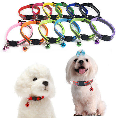 1PC Nylon Reflective Kitty Cat Collar with Bell Pet Puppy Collar Breakaway
