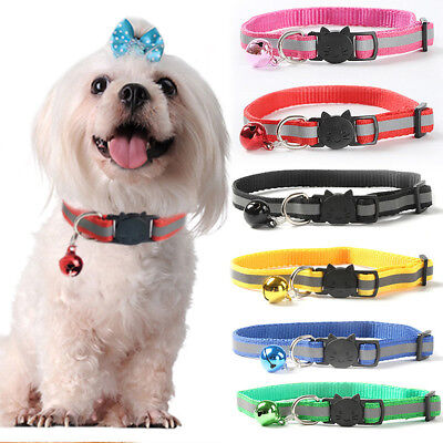 1PC Reflective Puppy Cat Safety Collar Adjustable Pet Collar with Bell Nylon