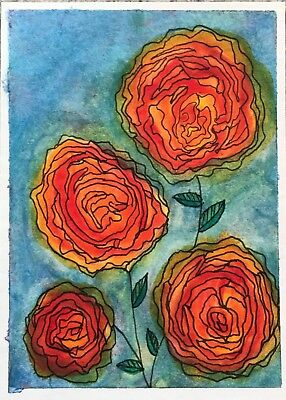 SEArts Bright Roses ACEO ORIGINAL Watercolor Mixed Media Flowers Floral Garden