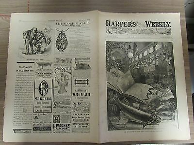 Harper's Weekly Newspaper - April 15, 1882 - 16 Pages - Complete, decent used