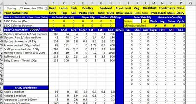 Weight Loss Nutrition Calculator Excel