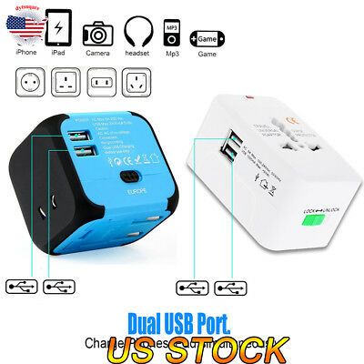 Travel Adapter Universal International Power Outlet Plug EU/US/AU/UK Blue/White