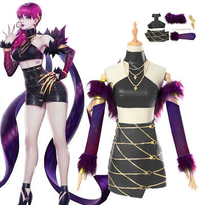 LOL KDA Evelynn Cosplay Costume Outfit Pop Star Necklacce Gloves Top Skirt Set