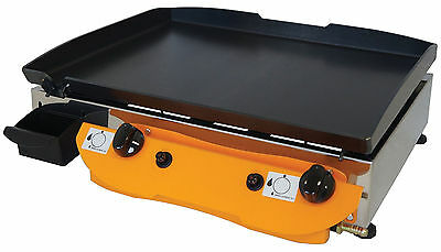 LPG Gas Griddle Hot Plate Barbecue 51x40 cm Gasgrill Stahl-Plancha
