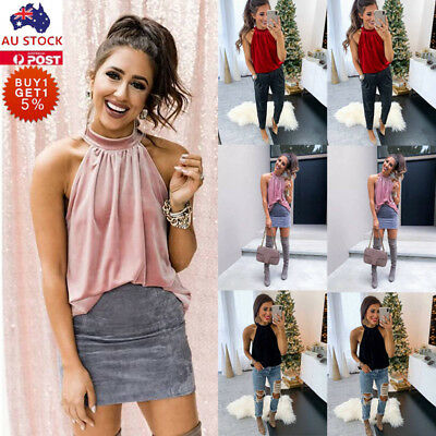 Women Halter Neck Velvet Tops Ladies Sexy Casual Solid Blouse Sleeveless Shirt
