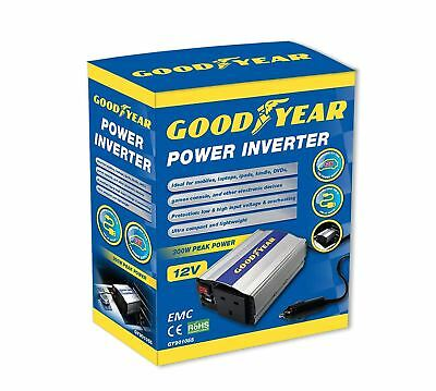Goodyear Car Power Inverter 12v to 240v Laptop Charger 3 Pin Plug 2 X USB