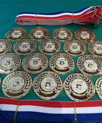 20x Football Medals 50mm gold medal, Football Centres,  Ribbons