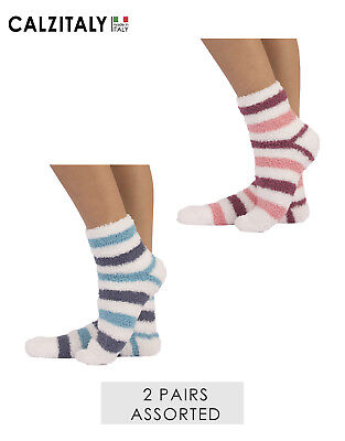 2 Pairs Fleece Ankle Socks, Bed Thermal Socks, Pile Soft Striped Slippers, 3-8