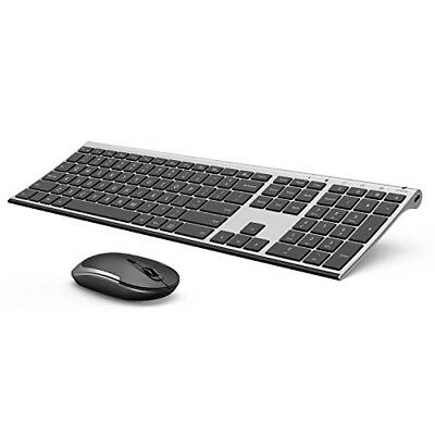 Wireless Keyboard Mouse, Vive Comb 2.4GHz Rechargeable Compact Whisper Quiet Ful