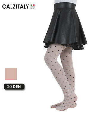 Girls Polka Dots Tights, Opaque Panyhose for Children, 40 DEN, Made in Italy