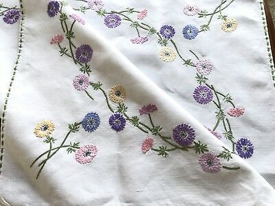 Vintage Hand Embroidered White Linen Tablecloth 31x31 Inches