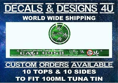 Press pressitin ring pull tuna tin stickers 100ml Cali Kush Tin Labels 10 Sets