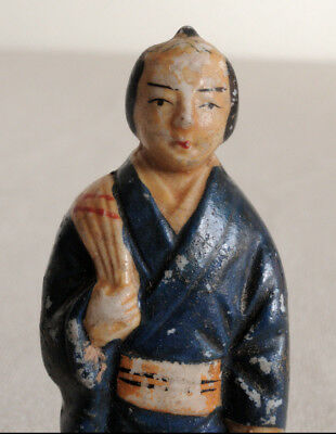 3.5 inch Japanese Antique Porcelain doll : The Samurai who go to Sento