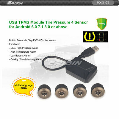 USB TPMS Module Tire Pressure with 4 Sensors For Android 6.0 7.1 8.0 8.1 Stereos