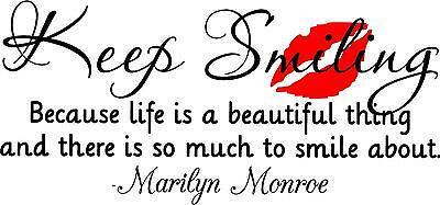 Keep Smiling Marilyn Monroe Vinyl Wall Decal Sticker Art Quote