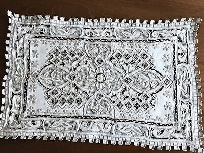 Antique Vintage Hand Embroidered OFF WHITE Linen Silver Taupe Table Centre Cloth