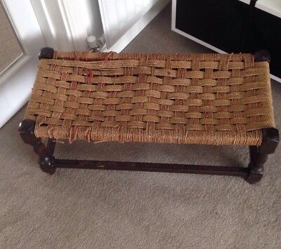VINTAGE MID CENTURY STOOL DOUBLE WOVEN STRING SEAT STURDY WOODEN FRAME 1960s