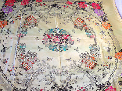 Pale Yellow Silk Embroidered Asian Themed Table Cloth / Wall Hanging