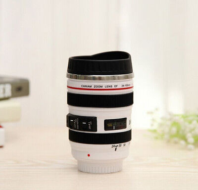 NEW WHITE Canon Caniam Camera Lens Thermos Travel Tea Coffee Stainless Mug USA
