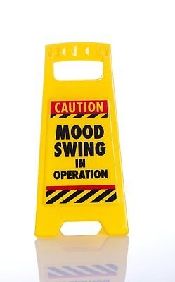 Yellow Novelty Desk Mini Warning Sign- Caution Mood Swing In Operation - DK1003