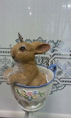 Victorian Trading Co Princess Bunny Rabbit in Teacup Free Ship 12F