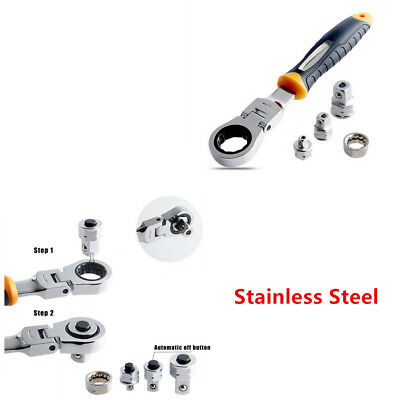Car Adjustable Spanners Ratchet Wrench Stainless Steel Rotatable Accessory Tool