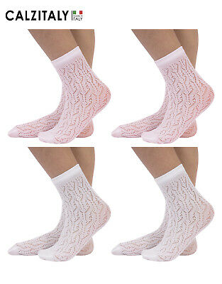 4 Pairs Girl Pelerine Socks, Kids Patterned Open Work Lace Socks, White, Pink