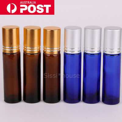 24X 10ml Amber THICK Glass Roller Bottles Big Steel Roll on Ball Essential Oil A