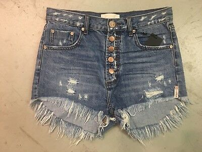 475b0e2a09 Nwt One Teaspoon Women's Outlaws Mid Length Denim Shorts In Johnny Blue  Size 26