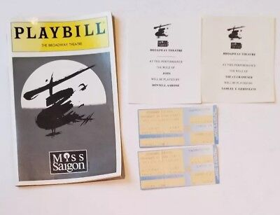 PLAYBILL THE BROADWAY THEATRE  MISS SAIGON with Ticket Stubs