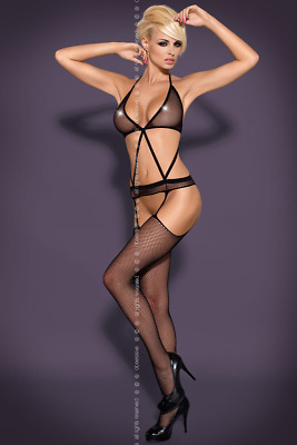 Catsuit schwarz Stretch offen Bodystocking elastischer Stringbody N108 S M L