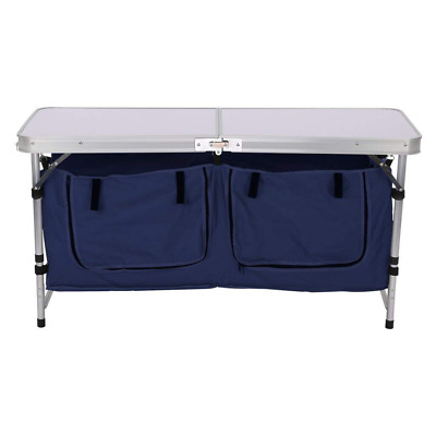 Height Adjustable Folding Table with Large 2-Compartment Storage Bag Picnic Camp
