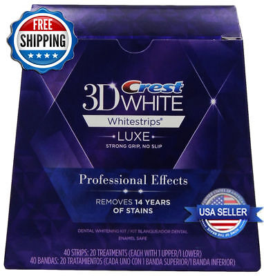 Crest 3D White Luxe Whitestrips Professional Effects 40strips 20 Pouch 1 Pack