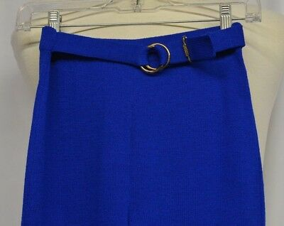 St. John Sz 2 Blue Pants Flat Front Slacks Straight Trousers Gold Tone Logo Belt