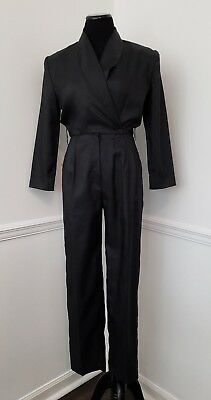 Vintage 1980's Black Jumpsuit by Joan Walters ~Tailored fit, Long Sleeve~ SMALL