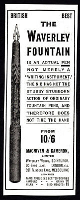 1910 The Waverly Fountain Pen small print ad