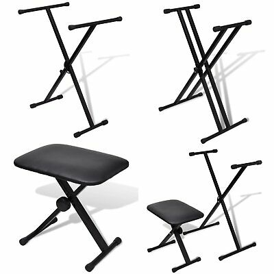 Adjustable Heavy Duty Single/Double X-Frame Keyboard Stands Foldable Piano Stool