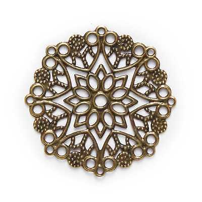Bronze Tone Hollow Filigree Wraps Round Findings Connnector Embellishments 35mm