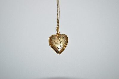 Vintage Gold Filled Etched Heart Shaped Locket with a 19 Inch Chain