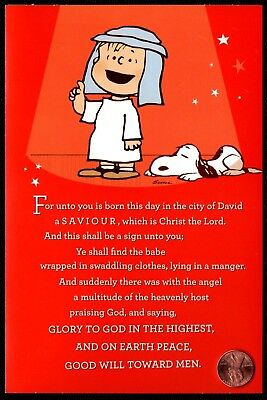 SCHULZ Christmas Charlie Brown Snoopy PEANUTS RELIGIOUS  Christmas GREETING Card