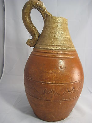 Vintage Very Old Terracotta Clay Art Pottery Vase Jug Large 16 1/2""